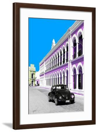 ¡Viva Mexico! Collection - Black VW Beetle and Mauve Architecture - Campeche-Philippe Hugonnard-Framed Photographic Print