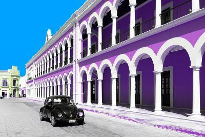 ¡Viva Mexico! Collection - Black VW Beetle and Mauve Architecture in Campeche-Philippe Hugonnard-Photographic Print