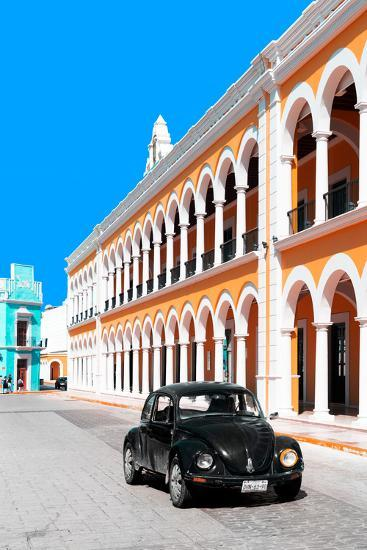 ?Viva Mexico! Collection - Black VW Beetle and Orange Architecture - Campeche-Philippe Hugonnard-Photographic Print