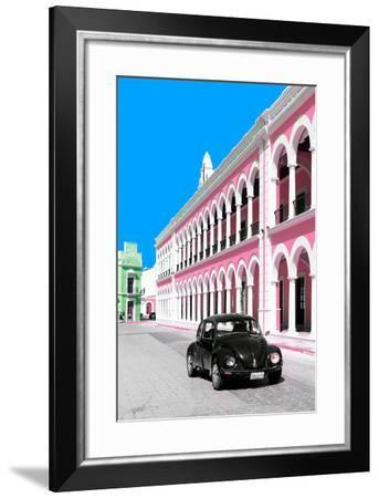 ¡Viva Mexico! Collection - Black VW Beetle and Pink Architecture - Campeche-Philippe Hugonnard-Framed Photographic Print