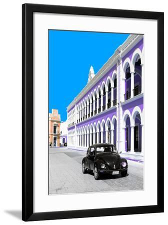 ¡Viva Mexico! Collection - Black VW Beetle and Purple Architecture - Campeche-Philippe Hugonnard-Framed Photographic Print
