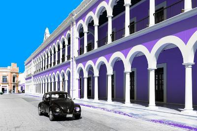 ¡Viva Mexico! Collection - Black VW Beetle and Purple Architecture in Campeche-Philippe Hugonnard-Photographic Print