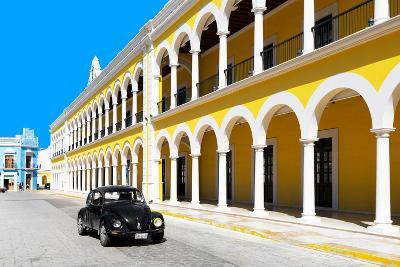 ?Viva Mexico! Collection - Black VW Beetle and Yellow Architecture in Campeche-Philippe Hugonnard-Photographic Print