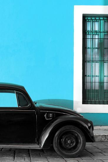 ?Viva Mexico! Collection - Black VW Beetle with Blue Street Wall-Philippe Hugonnard-Photographic Print