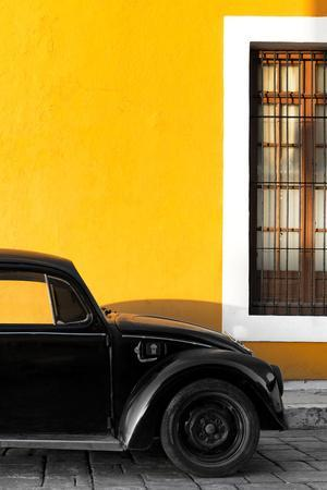 ¡Viva Mexico! Collection - Black VW Beetle with Gold Street Wall-Philippe Hugonnard-Photographic Print