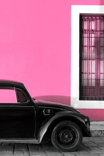 ¡Viva Mexico! Collection - Black VW Beetle with Hot Pink Street Wall-Philippe Hugonnard-Photographic Print