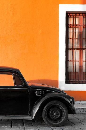 ¡Viva Mexico! Collection - Black VW Beetle with Orange Street Wall-Philippe Hugonnard-Photographic Print