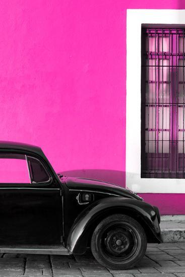 ?Viva Mexico! Collection - Black VW Beetle with Pink Street Wall-Philippe Hugonnard-Photographic Print