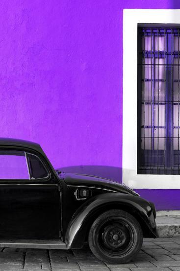 ?Viva Mexico! Collection - Black VW Beetle with Purple Street Wall-Philippe Hugonnard-Photographic Print