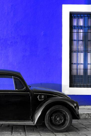 ¡Viva Mexico! Collection - Black VW Beetle with Royal Blue Street Wall-Philippe Hugonnard-Photographic Print