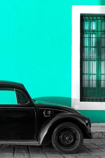?Viva Mexico! Collection - Black VW Beetle with Turquoise Street Wall-Philippe Hugonnard-Photographic Print