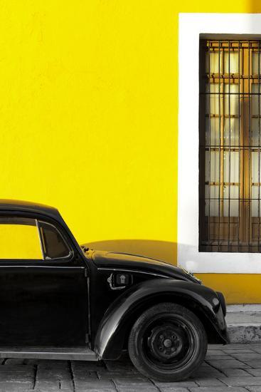 ¡Viva Mexico! Collection - Black VW Beetle with Yellow Street Wall-Philippe Hugonnard-Photographic Print