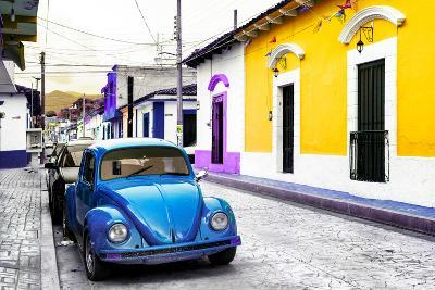¡Viva Mexico! Collection - Blue VW Beetle Car and Colorful Houses-Philippe Hugonnard-Photographic Print