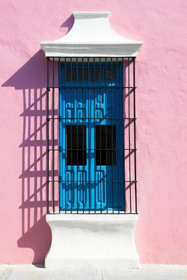 ?Viva Mexico! Collection - Blue Window and Pink Wall in Campeche-Philippe Hugonnard-Photographic Print
