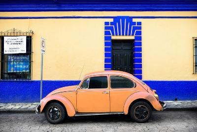 ¡Viva Mexico! Collection - Classic Coral VW Beetle Car and Colorful Wall-Philippe Hugonnard-Photographic Print