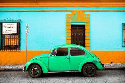 ?Viva Mexico! Collection - Classic Green VW Beetle Car and Colorful Wall-Philippe Hugonnard-Photographic Print