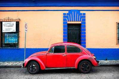 ?Viva Mexico! Collection - Classic Red VW Beetle Car and Colorful Wall-Philippe Hugonnard-Photographic Print