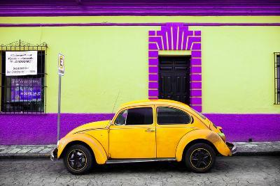 ?Viva Mexico! Collection - Classic Yellow VW Beetle Car and Colorful Wall-Philippe Hugonnard-Photographic Print