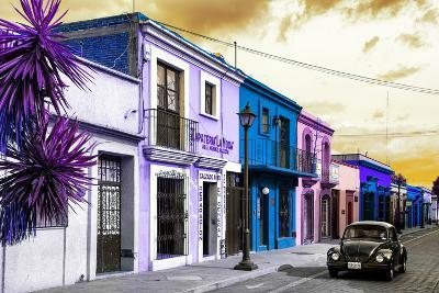 ?Viva Mexico! Collection - Colorful Facades and Black VW Beetle Car II-Philippe Hugonnard-Photographic Print