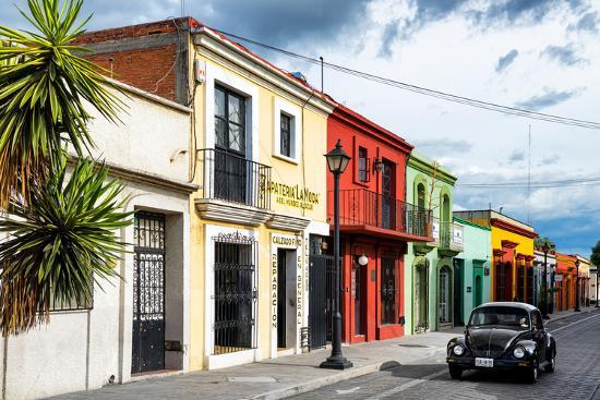 ¡Viva Mexico! Collection - Colorful Facades and Black VW Beetle Car-Philippe Hugonnard-Photographic Print