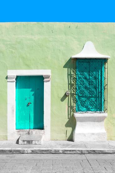 ¡Viva Mexico! Collection - Coral Green and Olive Facade - Campeche-Philippe Hugonnard-Photographic Print