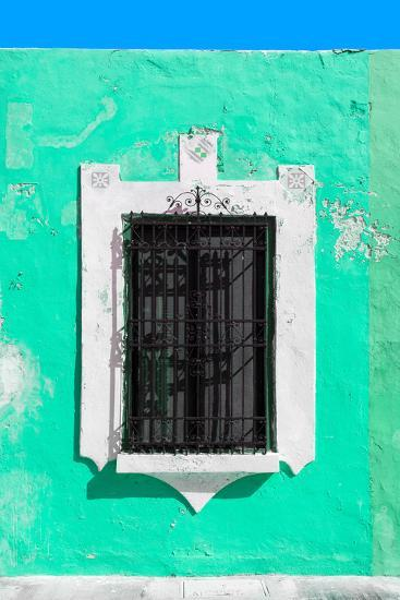 ¡Viva Mexico! Collection - Coral Green Window - Campeche-Philippe Hugonnard-Photographic Print