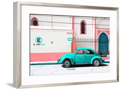 """¡Viva Mexico! Collection - """"En Linea Roja"""" Turquoise VW Beetle Car-Philippe Hugonnard-Framed Photographic Print"""