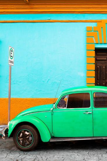 ?Viva Mexico! Collection - Green VW Beetle Car and Colorful Wall-Philippe Hugonnard-Photographic Print