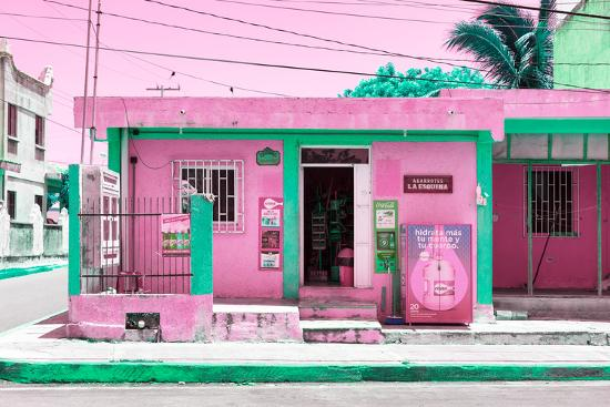 "¡Viva Mexico! Collection - ""La Esquina"" Pink Supermarket - Cancun-Philippe Hugonnard-Photographic Print"