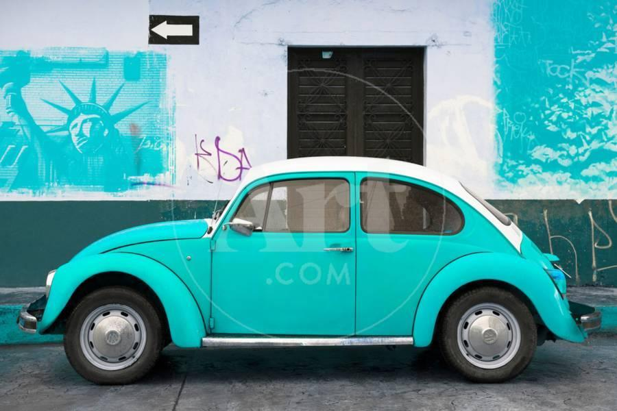 Collection Light Blue Vw Beetle Car And American Graffiti Photographic Print By Philippe Hugonnard Art
