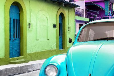 ?Viva Mexico! Collection - Light Blue VW Beetle Car and Colorful House-Philippe Hugonnard-Photographic Print
