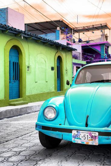 Collection Light Blue Vw Beetle Car In A Colorful Street Photographic Print By Philippe Hugonnard Art