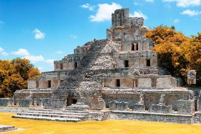 ?Viva Mexico! Collection - Maya Archaeological Site with Fall Colors IV - Edzna Campeche-Philippe Hugonnard-Photographic Print