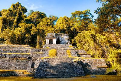 ¡Viva Mexico! Collection - Mayan Ruins with Fall Colors in Palenque-Philippe Hugonnard-Photographic Print