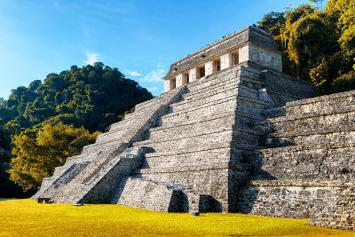 ?Viva Mexico! Collection - Mayan Temple of Inscriptions with Fall Colors - Palenque-Philippe Hugonnard-Photographic Print