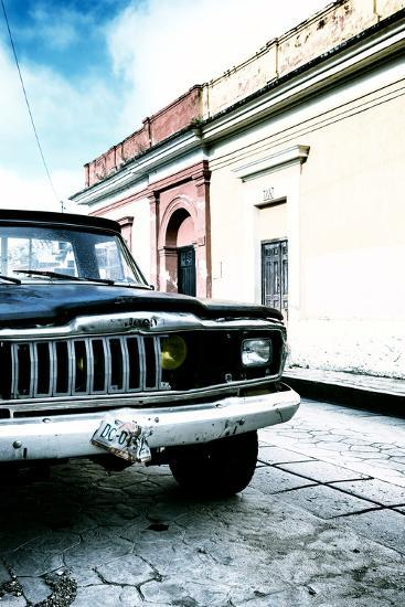 ¡Viva Mexico! Collection - Old Black Jeep and Colorful Street V-Philippe Hugonnard-Photographic Print