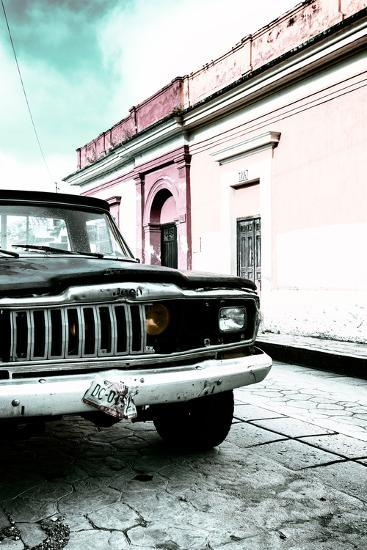 ¡Viva Mexico! Collection - Old Black Jeep and Colorful Street VII-Philippe Hugonnard-Photographic Print