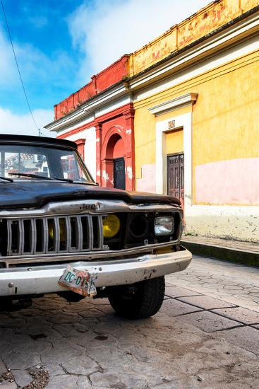 ¡Viva Mexico! Collection - Old Black Jeep and Colorful Street-Philippe Hugonnard-Photographic Print
