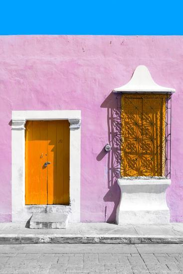 ?Viva Mexico! Collection - Orange and Light Pink Facade - Campeche-Philippe Hugonnard-Photographic Print