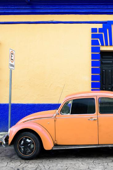 ?Viva Mexico! Collection - Orange VW Beetle Car and Colorful Wall-Philippe Hugonnard-Photographic Print