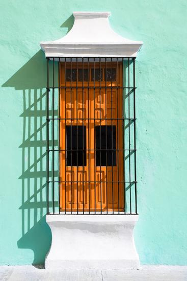 ?Viva Mexico! Collection - Orange Window and Coral Green Wall in Campeche-Philippe Hugonnard-Photographic Print