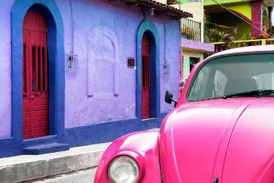 ¡Viva Mexico! Collection - Pink VW Beetle Car and Colorful House-Philippe Hugonnard-Photographic Print