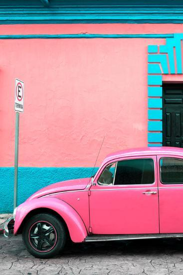 ?Viva Mexico! Collection - Pink VW Beetle Car and Colorful Wall-Philippe Hugonnard-Photographic Print