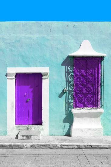 ¡Viva Mexico! Collection - Purple and Powder Blue Facade - Campeche-Philippe Hugonnard-Photographic Print
