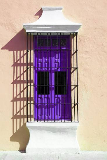 ¡Viva Mexico! Collection - Purple Window and Apricot Wall in Campeche-Philippe Hugonnard-Photographic Print