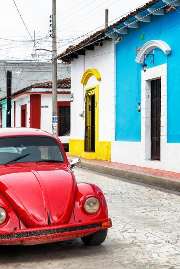 ¡Viva Mexico! Collection - Red VW Beetle Car and Colorful Houses II-Philippe Hugonnard-Photographic Print