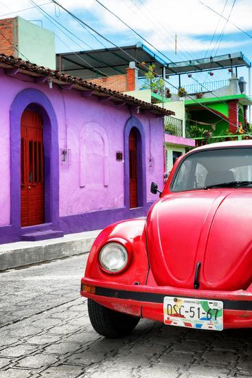 ¡Viva Mexico! Collection - Red VW Beetle Car in a Colorful Street-Philippe Hugonnard-Photographic Print
