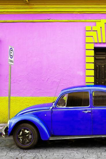 ?Viva Mexico! Collection - Royal Blue VW Beetle Car and Colorful Wall-Philippe Hugonnard-Photographic Print