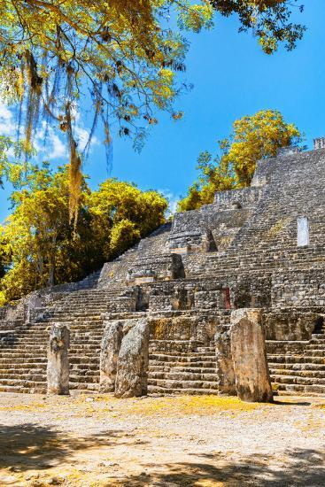 ¡Viva Mexico! Collection - Ruins of the ancient Mayan city with Fall Colors of Calakmul II-Philippe Hugonnard-Photographic Print