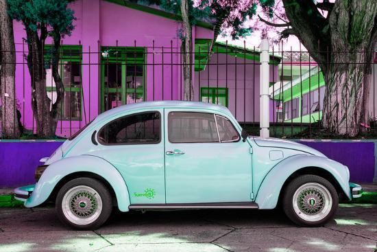 "¡Viva Mexico! Collection - ""Summer Blue Car"" VW Beetle-Philippe Hugonnard-Photographic Print"